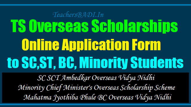 ts overseas scholarships online application form for sc,st,bc,minority students,sc sct ambedkar overseas vidya nidhi minority chief minister's overseas scholarship scheme mahatma jyothiba phule bc overseas vidya nidhi online application form