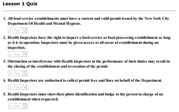 food protection course quiz answers