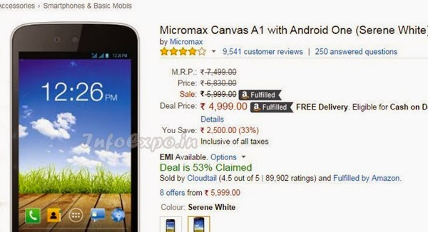 Buy Micromax Canvas A1 with Android One at cheapest price Rs.4999 from Amazon India