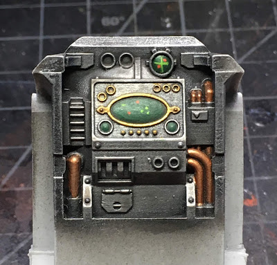 Cerastus Knight-Castigator WIP - painting the interior console screens