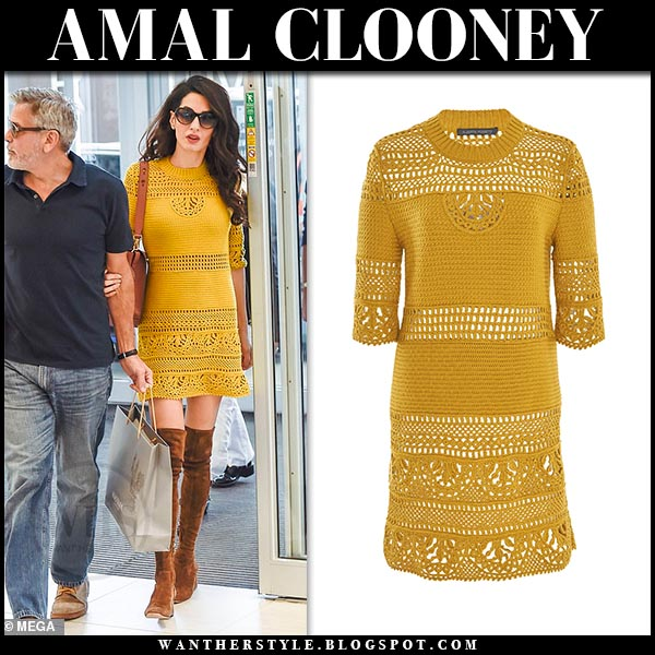 Amal Clooney in yellow crochet mini dress in Rome on May 14 ~ I want