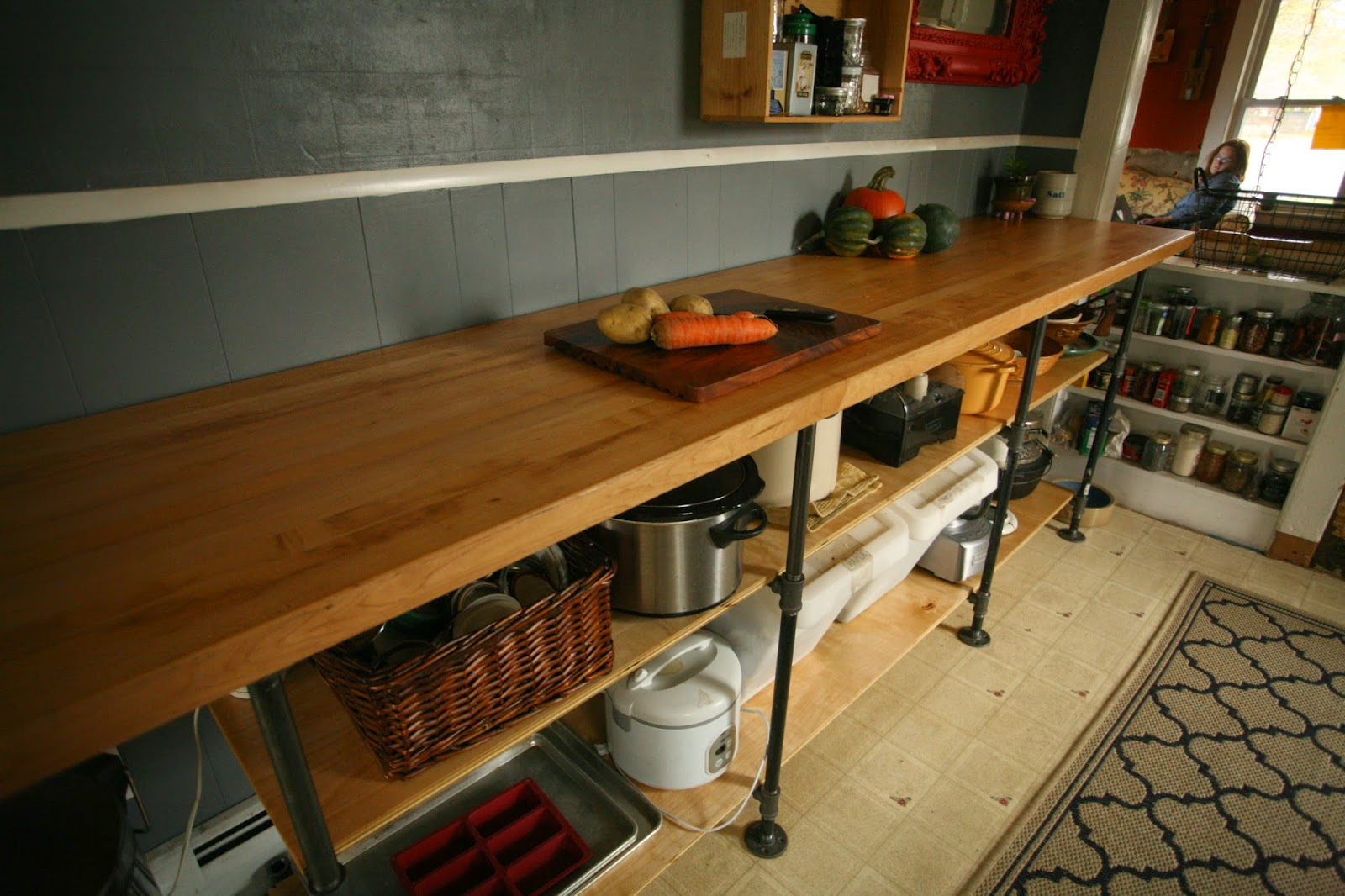 Diy kitchen countertop bstcountertops whittled down life diy black pipe kitchen counter solutioingenieria Image collections