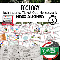 Ecology, LIFE SCIENCE Warm Ups & Bell Ringers, LIFE SCIENCE Use Ticket Out, Homework NGSS 6-8 Science, Print and Digital