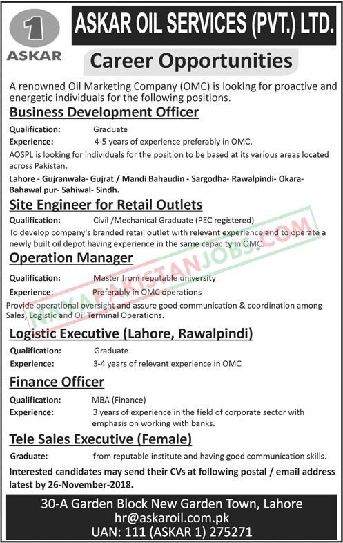 Latest Vacancies Announced in Oil and Gas Company Askar Oil Services Pvt Limited 19 November 2018 - Naya Pakistan