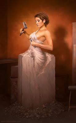 Mujer bonita escultura