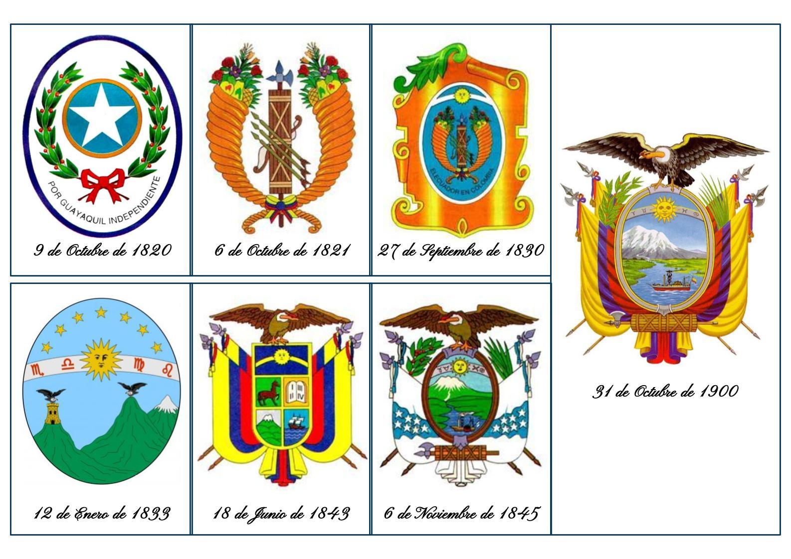 Lamina escudo historia ecuador 1820 1830 1833 1843 1845 1900 eloy alfaro 31 octubre