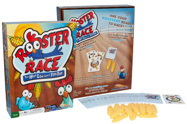 Rooster Race a High Low Game of Fowl Fun from Roosterfin Games designed and illustrated by Imagine That! Design