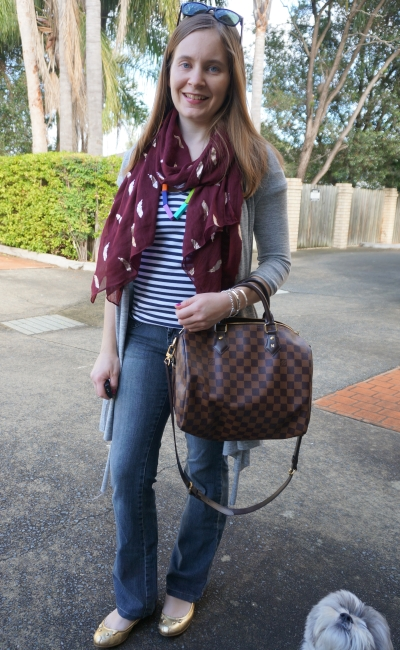 Flared jeans, gold mouse ballet flats and feather print scarf and cosy grey cardigan | AwayFromBlue