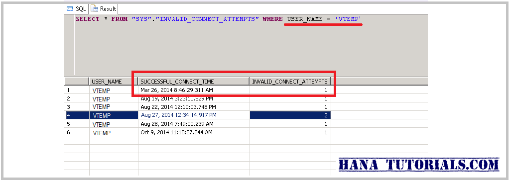 Hana Tutorials How To Check Hana Users Last Login Time And Invalid Connect Attempts Made