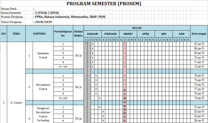 Program Semester Promes Kelas 3 Sd Semester 2 K13 Versi Revisi 2018 Administrasi Kurikulum 2013