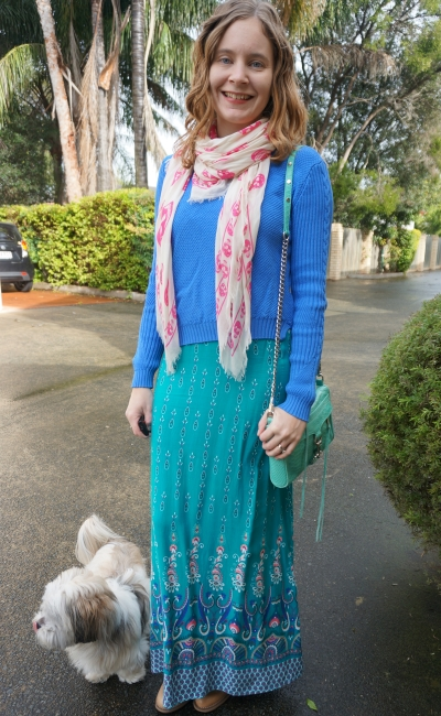 Printed Maxi Dress in Winter layered with blue knit pink skull scarf ankle boots