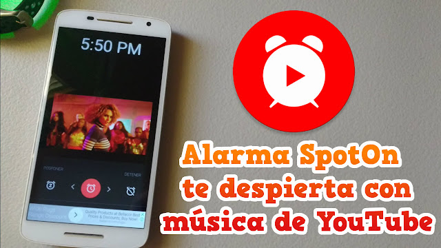 SpotOn es una aplicación de alarma que te despierta con música de YouTube