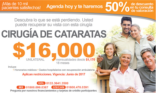 precio costo de Cirugía de catarata con faco paquete en Guadalajara