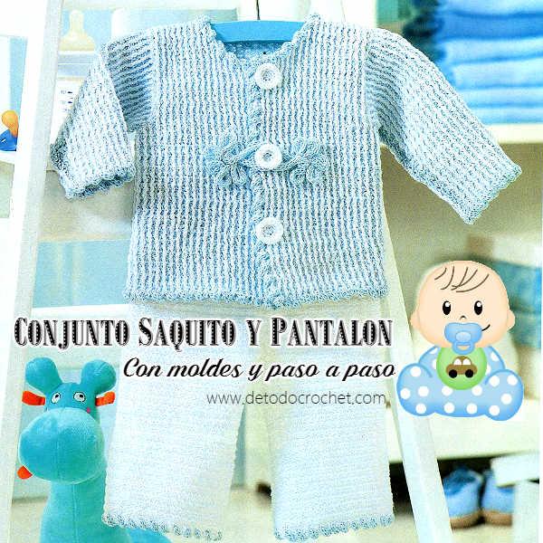 Pantalón y chaqueta crochet para bebé / Paso a paso | Todo crochet