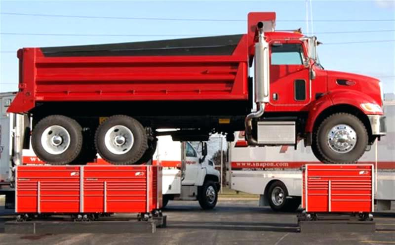Beautiful In A Daring Test Of Strength, Snap On Tools Company Placed A Peterbilt Dump  Truck On Six Tool Storage Cabinets To Demonstrate The Durability Of Its  Storage ...