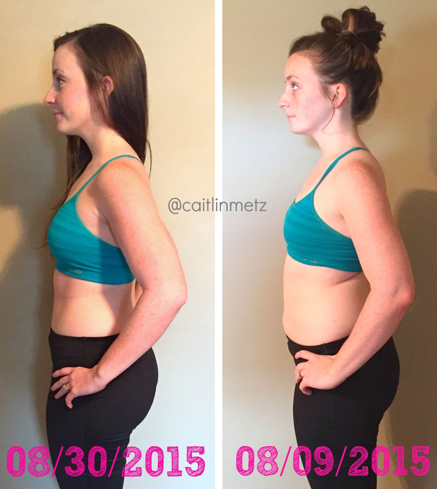 Okay as promised, here are my 21 Day Fix results!! I chose to show the side  view, because my sides& hips are where I usually gain my weight.