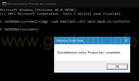 Notifica disinstallazione product key Windows