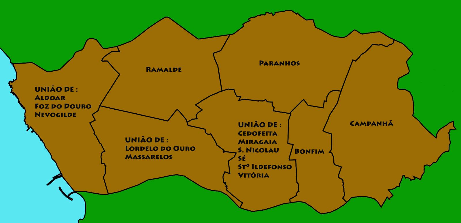 mapa porto freguesias Porto Condado Digital: Cidade do Porto   As Freguesias mapa porto freguesias