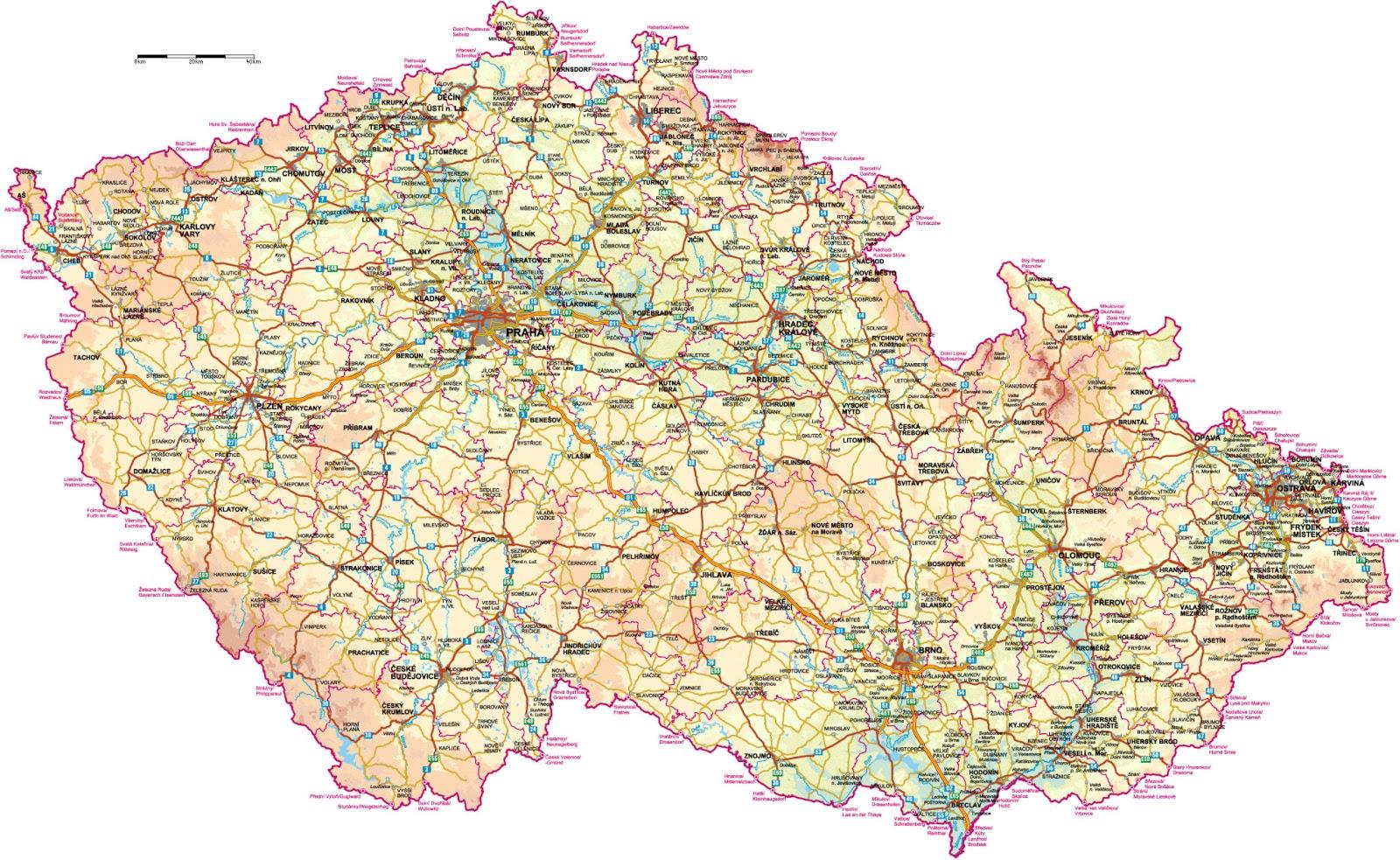 República Tcheca | Mapas Geográficos da República Tcheca