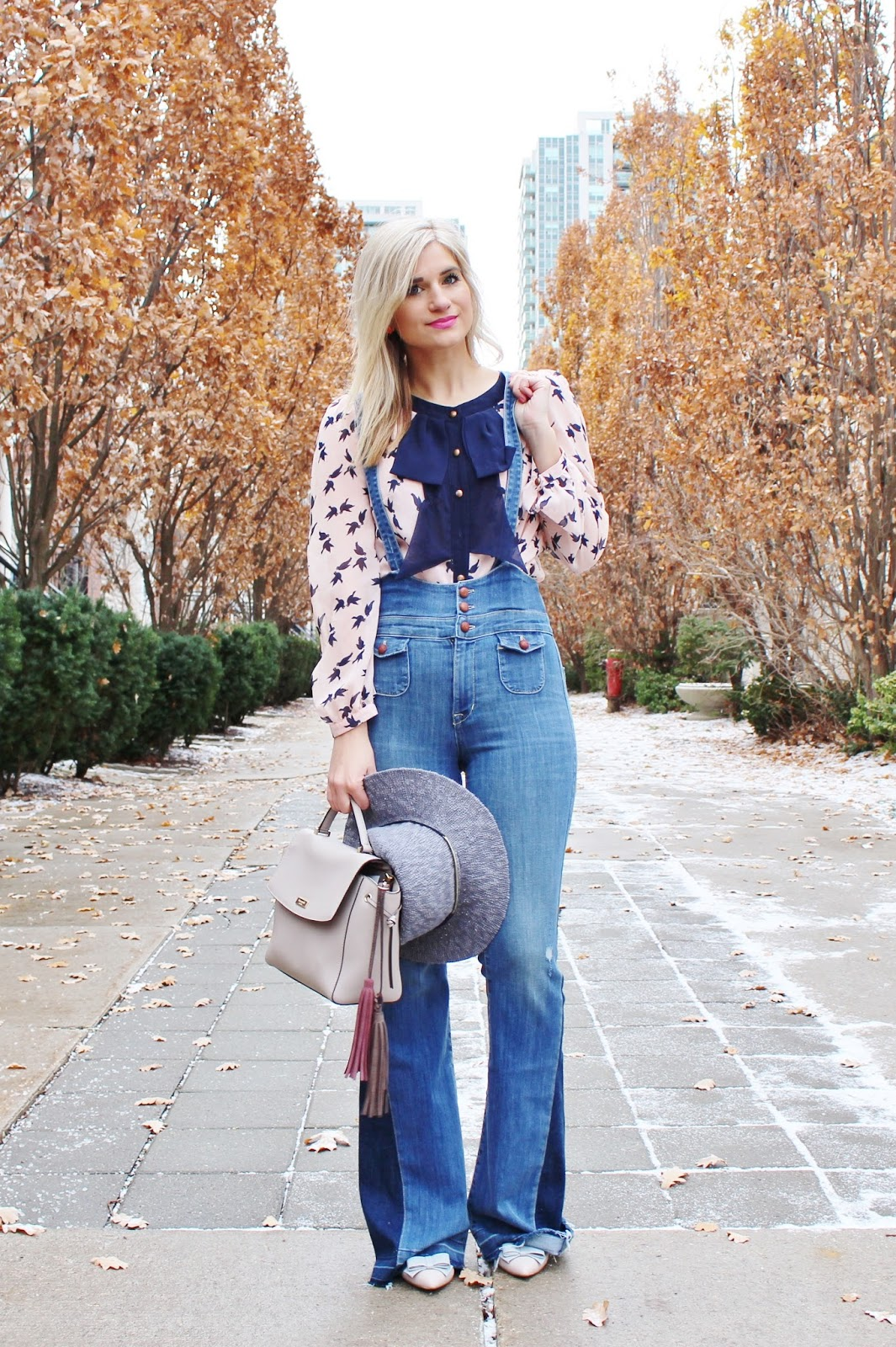 Bijuleni - Boho Look - Fidelity Denim Gwen Overall jeans, pussy bow blouse, bows heels and pink wool coat