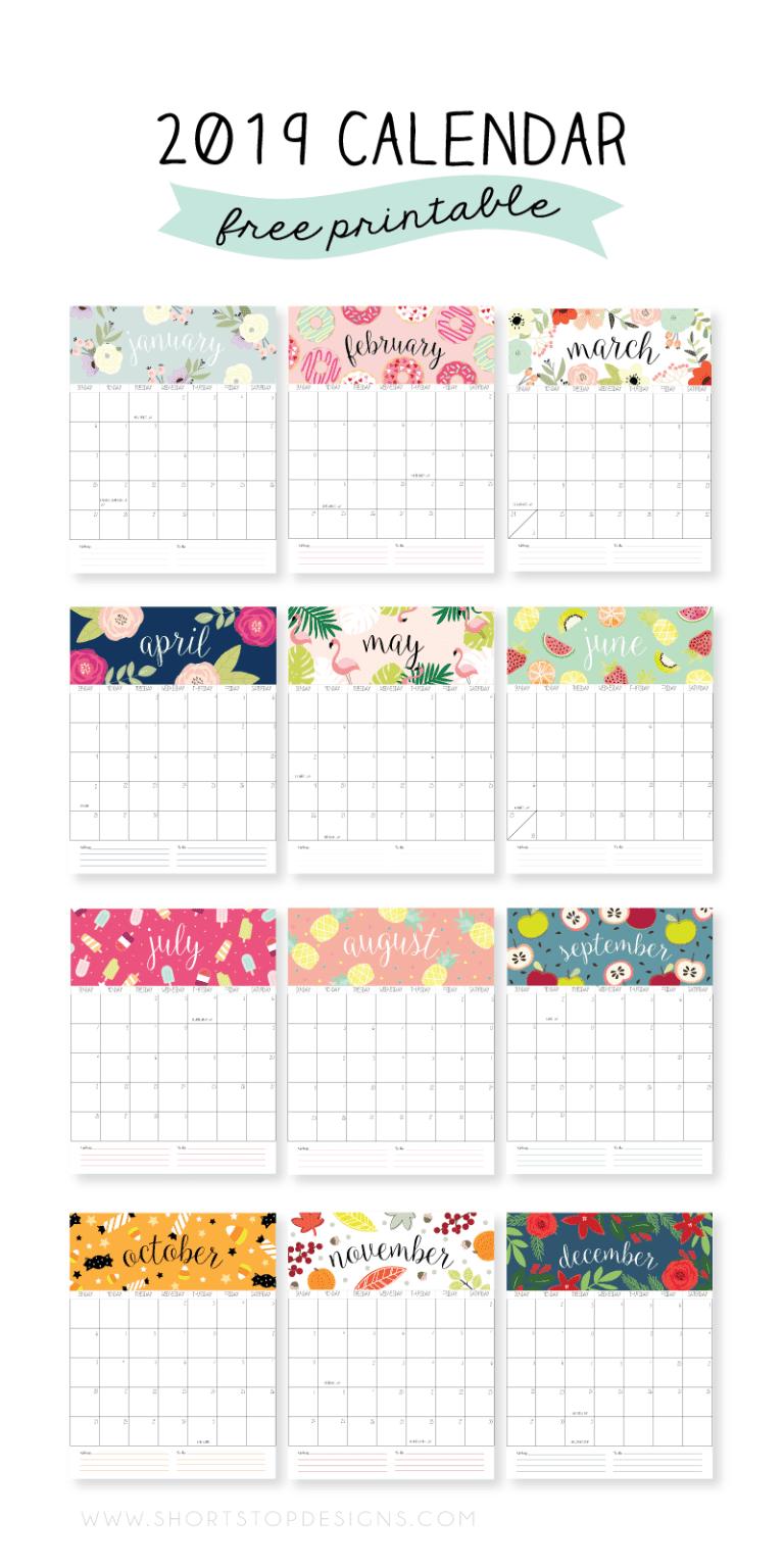 Calendários fofos de 2019 grátis para imprimir