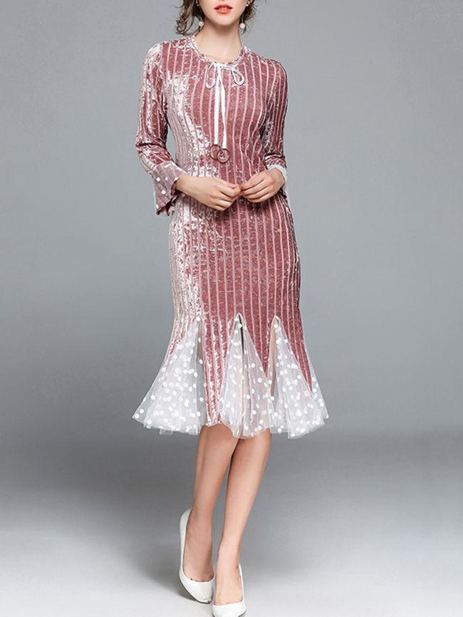Tie Collar Plain Blend Bodycon Dress