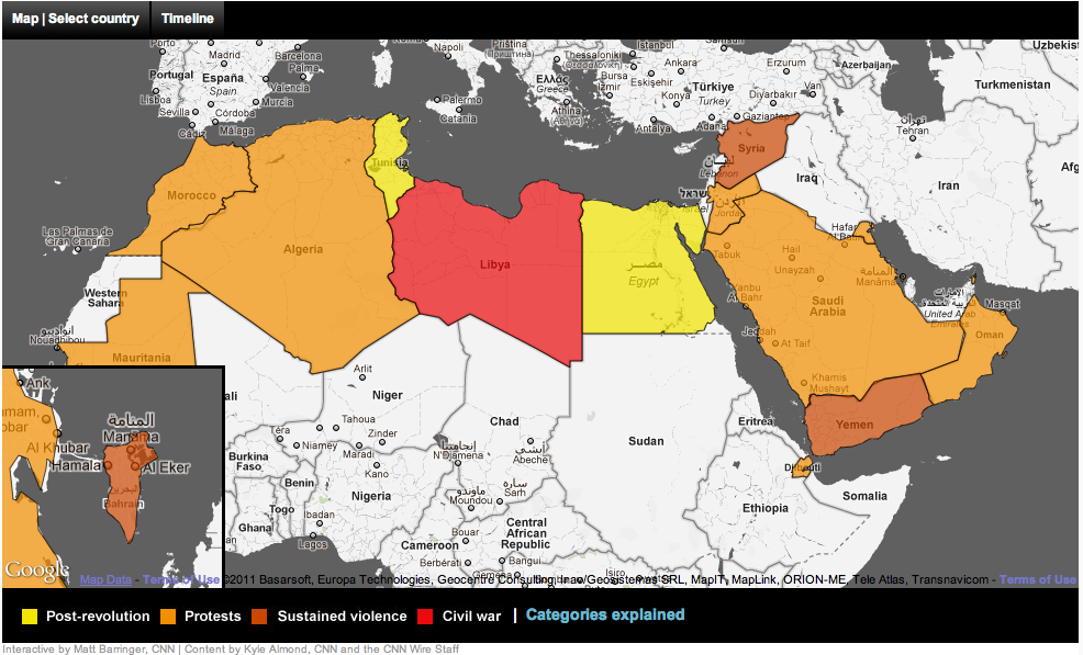 Free technology for teachers unrest in the arab world map and this fall i am again teaching a current global studies course and i plan to include this map on my course blog gumiabroncs Images
