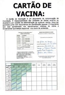 Textos informativos-cartao de vacina