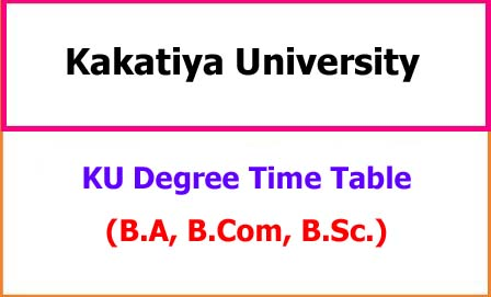 KU Degree Exam Time Table