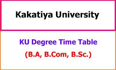 KU Degree Exam Time Table