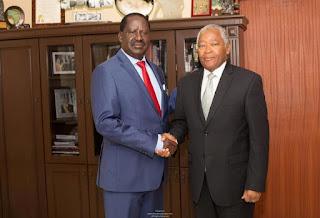 Raila Odinga with Chirao ali Mwakwere in the Capitol hill Office. Photo | courtesy