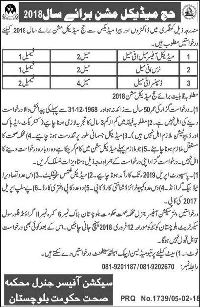 Hajj Medical Mission Jobs In Balochistan 2018