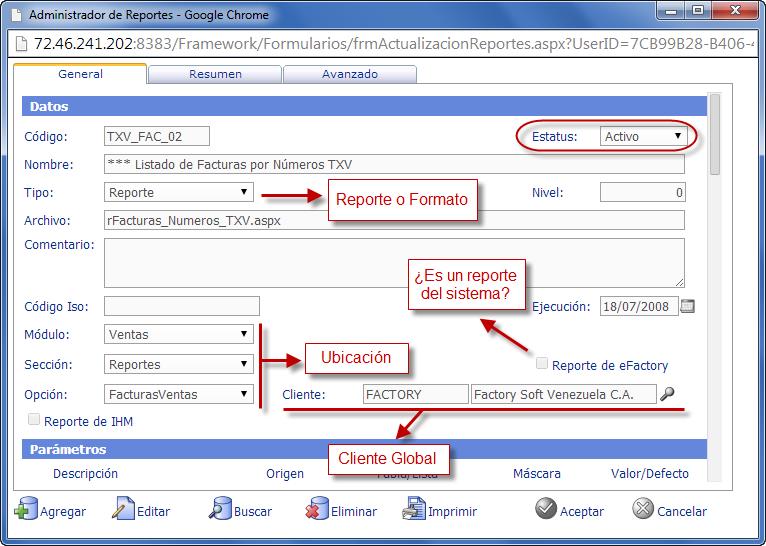 Administrador de Reportes - Programación de Reportes en eFactory ERP/CRM, Contabilidad, Nómina
