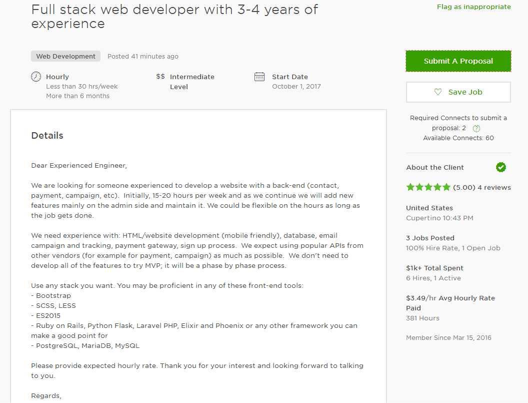 Upwork Cover Letter Sample For Web Developer