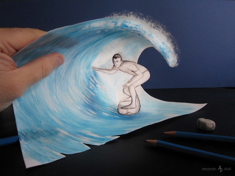 08-Surfing-the-Wave-Alessandro-Diddi-Anamorphic-Optical-Illusions-that-look-like-3D-Drawings-www-designstack-co