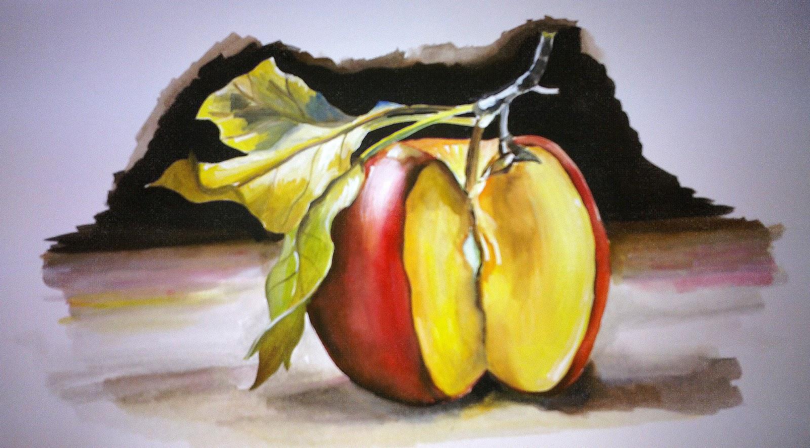 Gambar Lukisan Buah Epal