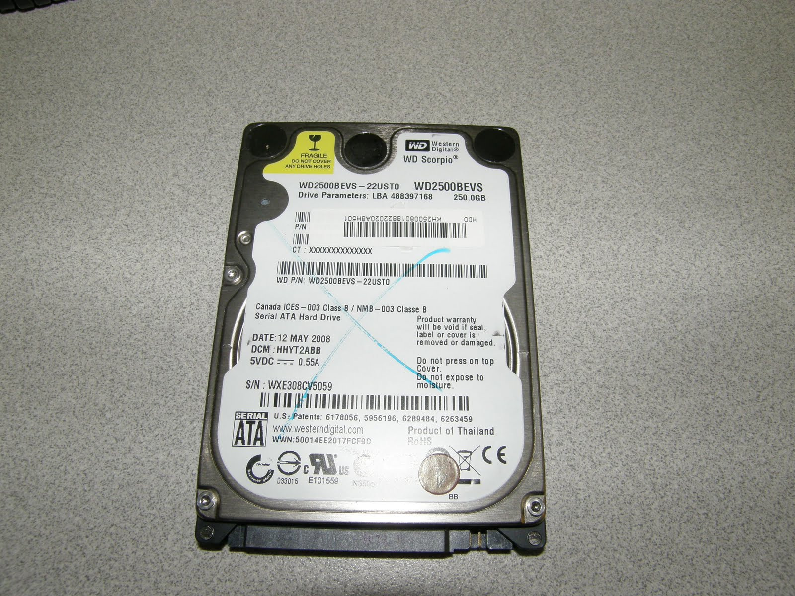 My Commentary and Technical help: Western Digital WD2500BEVS