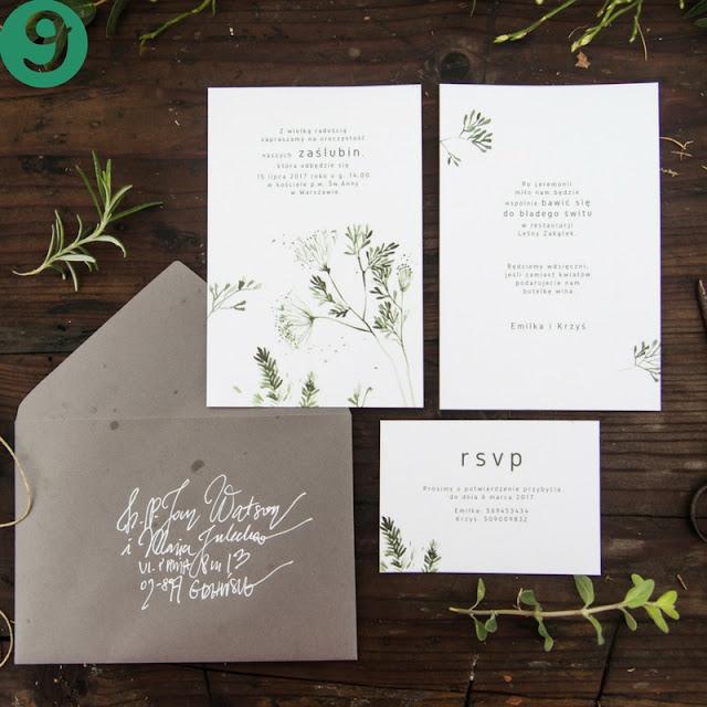 zaproszenia ślubne rośliny i liście