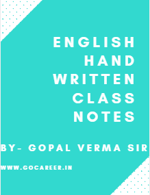 English Hand Written Class Notes By Gopal Verma Sir