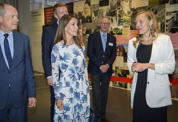 Princess Marie wore her Ganni Gold St. Satin Floral Print dress with a new Michael Kors bag and new Jimmy Choo 'Romy' pumps at an UNESCO seminar