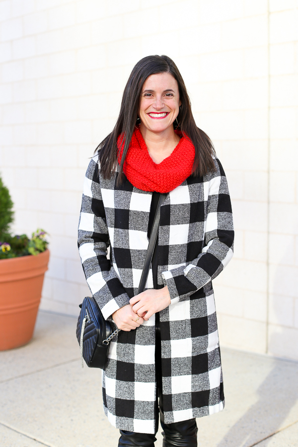 Naturally Me, Holiday Outfit Idea, How to Wear A Plaid Coat for the Holidays, How to Wear Red Lipstick, Red Snood, Black and White Outfit