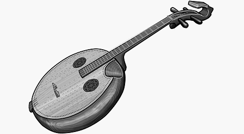 Ruanshen : Chinese plucked instrument. grayscale picture.