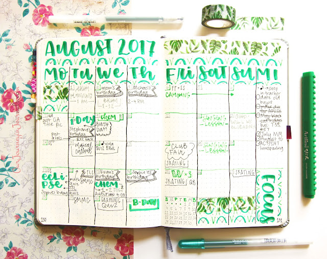 filled out August bullet journal monthly log