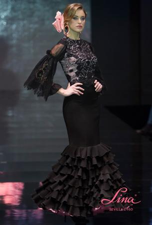 traje de flamenca negro Lina 2016