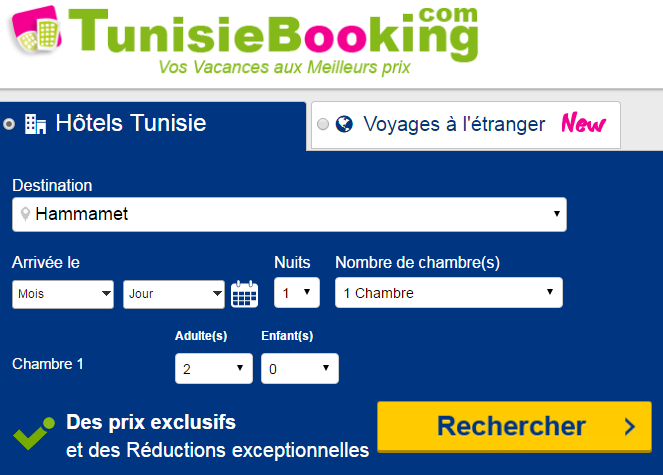 Tunisie booking r server en ligne votre h tel avec ou sans for Reserver hotel et payer en ligne