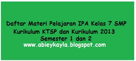 Materi Pelajaran IPA Kelas 7 SMP/MT's Kurikulum KTSP dan Kurikulum 2013