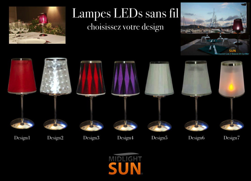 midlightsun lampes de table led sans fil rechargeables mars 2015. Black Bedroom Furniture Sets. Home Design Ideas