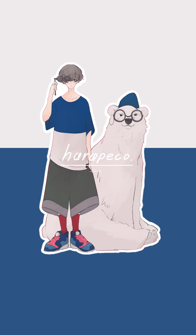 The polar bear and a Boy