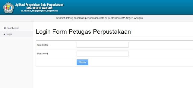 Halaman Login Administrator atau Petugas Perpustakaan