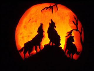 wolves howling halloween pumpkins carving art